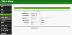 настройки DHCP-сервера