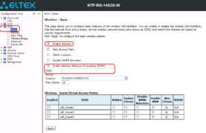 ONT NTP-RG-1402G-W настройка wi-fi