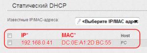 Статистический DHCP-настройка