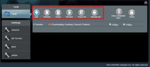 Интерфейс программы содержит стандартный набор функций: «добавить», «удалить», «запустить», «пауза» и другие.