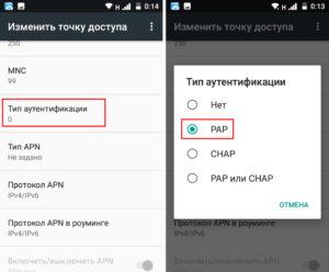 Открыть «Тип аутентификации» и выбрать PAP