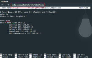 sudo nano /etc/network/interfaces