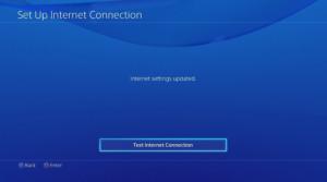 Команда Test Internet Connection для проверки соединения