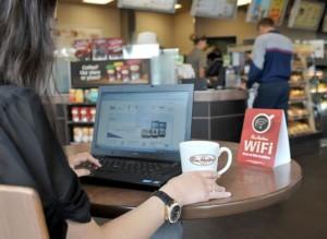 Использование интернета через вай-фай в ресторане
