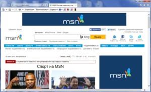 Интерфейс стандартного веб-обозревателя от компании Microsoft