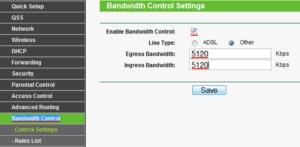 Настройка Bandwidth Control