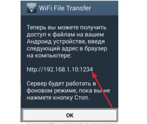 Результат работы WiFi File Transfer