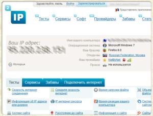 Внешний вид сервиса 2ip.ru